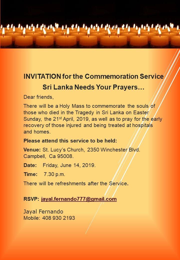 INVITATION for the Commemoration Service !!!